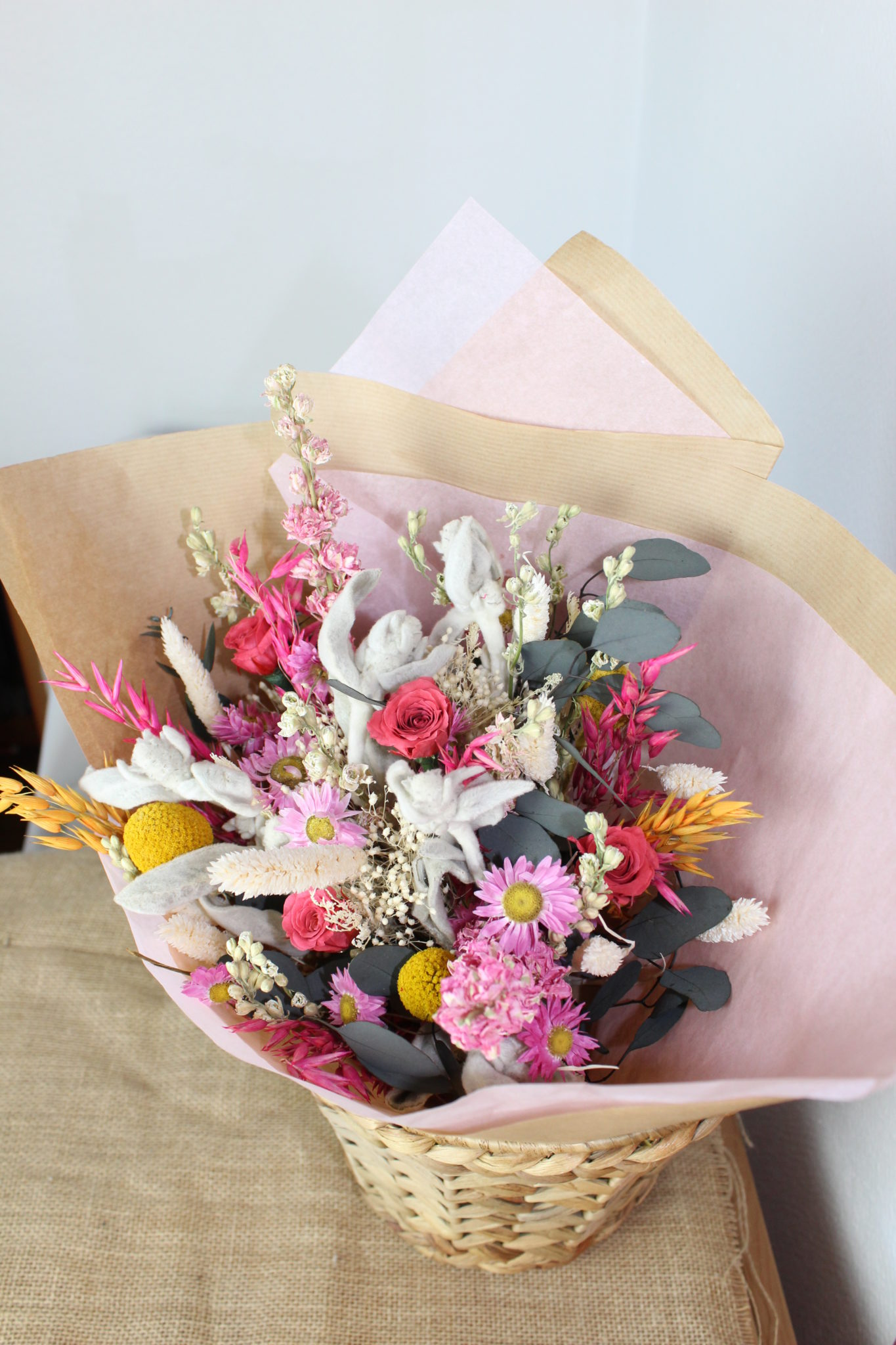 Bouquet pétillant de fleurs séchées
